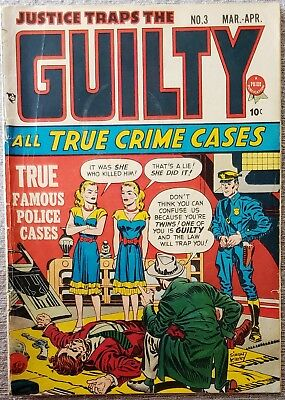 * JUSTICE Traps the Guilty 3 (VG+) Simon & Kirby 1947 ORIGINAL Owner Collection