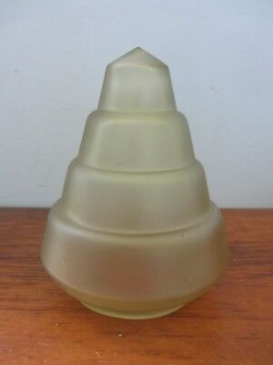 Vintage Frosted Amber Glass Art Deco Pyramid Cone Light Shade Frankart Nuart