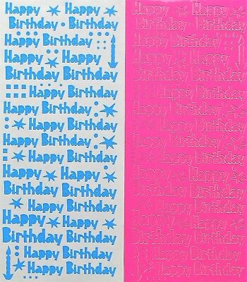 Happy Birthday PEEL OFF STICKERS Stars Dots Candles Cardmaking