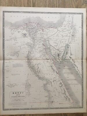 1853 Egypt Large Hand Coloured Antique Map From Johnston's National Atlas