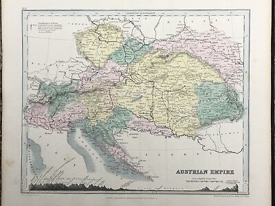 1849 Austria Hungary Antique Hand Coloured Map By John Dower 169 Years Old