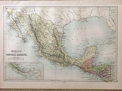 1888 Mexico & Central America Antique  Map By John Bartholomew & A & C Black