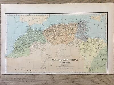 1864 North Africa Barbary Coast Large Hand Coloured Antique Map By George Philip