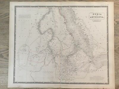 1843 Nubia & Abyssinia Large Hand Coloured Map From Johnston's National Atlas