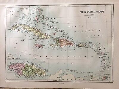 1888 West Indies Caribbean Antique  Map By John Bartholomew & A & C Black