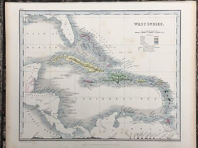 1849 West Indies Caribbean Original Antique Hand Coloured Map By John Dower