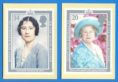 HM THE QUEEN MOTHER'S 90th BIRTHDAY.SET OF 4 PHQ POSTCARDS WITH COMMEM STAMPS