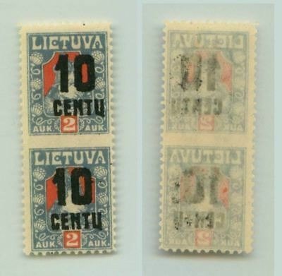 Lithuania 1922 SC 152 mint missing perf pair . f3119