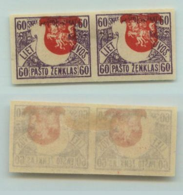 Lithuania 1919 SC 56 mint imperf pair shifted center . d4626