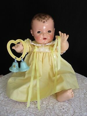 "Vintage Effanbee Dy-Dee Lou 20"" Doll Soft Baby Yellow Dress"
