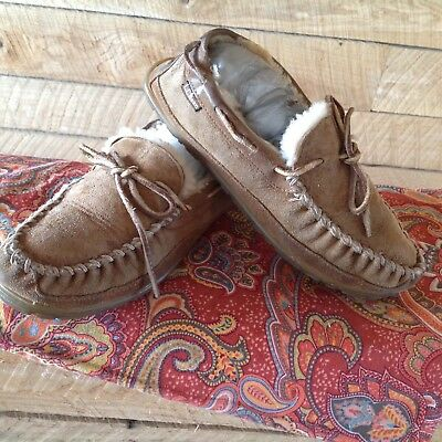 LL Bean Shearling Slipers Men Wicked Good Size 7 Brown Suede Mocs