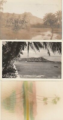 Hawaii~3X Real Photo Rppc View~Views Of Diamond Head