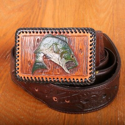 Vintage Resistol Brown Leather Belt With Fish Buckle Western Style