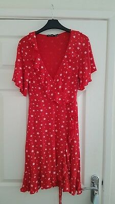 Womens Red Maternity Dress With White Stars. Size 10. Great Condtion.
