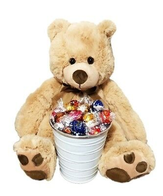 BRAND NEW Bear & Lindt Bucket Edible Gift Hamper Chocolate Jumbo Teddy Bear
