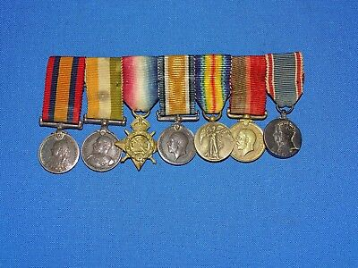 WWI British Miniature Medal 7 Place Bar (F)