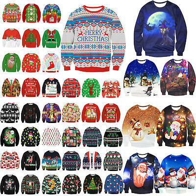 Fashion UGLY CHRISTMAS SWEATER Vacation Santa Elf Funny Women's Men's Sweatshirt