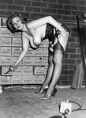 1960s Nude Busty Pinup Black garters and lace in basment 8 x 10 Photograph