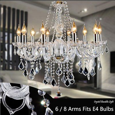 Clear Crystal Chandelier Ceiling Light Droplets Pendant Lamp 6, 8 Arm Light  YO