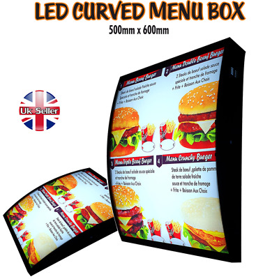 LED Curved Menu Box Illuminated Board Sign Restaurant Take away High Quality