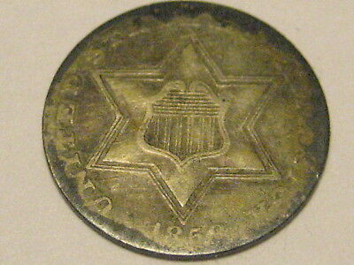 1858 Ty II Three Cent Silver Piece Full Shield & Star Lines