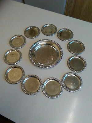 Small Vintage Silver Plated Bottle Coaster with 11 Similar Coasters (1038)