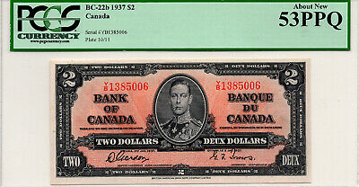 ✪ 1937 $2 Bank of Canada Gordon-Towers Y/B 1385006 BC-22b - PCGS AU-53 PPQ