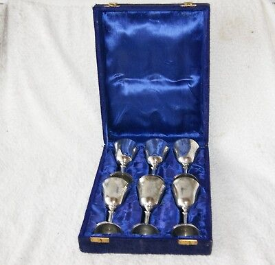 Vintage Silver Plated Wine Goblet Cup Cups Ornate Engraved Chased Set of 6