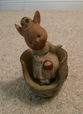 Vintage UCTCI Japan Ceramic Mouse in Cup Figurine Music Box ( I'm Late )