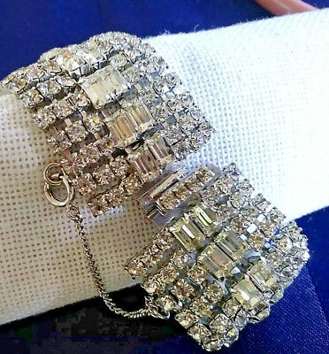 Vintage wide clear prong set rhinestones silvertone bracelet with safety chain