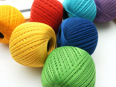 7 x crochet cotton yarn, size 10 thread , 3 ply cotton yarn, 50g 220, YARNART