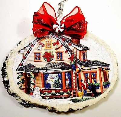 """Hand Made ~ Putting the Lights Up 4 Xmas ~ glittered wood  Ornament  7"""" X 6"""""""