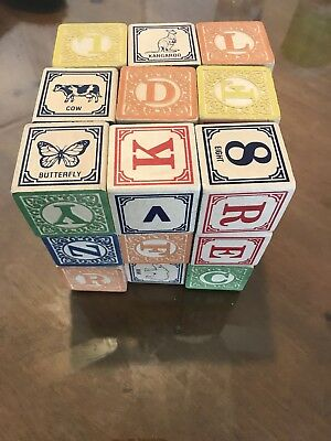 Used Classic Embossed Wooden ABC Blocks Alphabet Made in USA