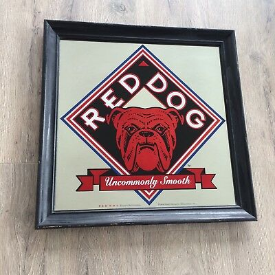 Vintage Red Dog Beer Bar Mirror Sign 18 x 18 College Town Bull Dog Advertising