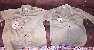 2 Vintage 1959 & 1966 Green Boy Scout Uniform Shirts With Patches