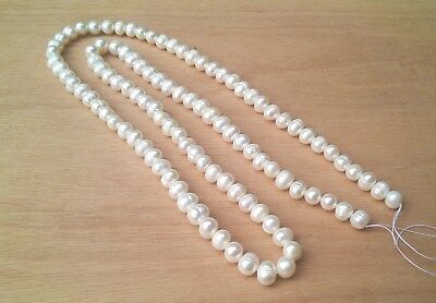 1 Metre White Large Freshwater Pearls, 10mm x 9mm Approx, Extra Long Strand