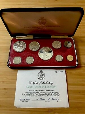 .01 Cent NO Reserve 1971 Bahama Islands 9-Coin Proof Set w/ 2.87 Troy Oz. Silver
