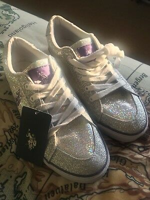 Brand New Sparkly Polo Ralph Lauren Trainers  SIZE 6.