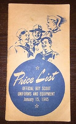 Official Boy Scout Uniform Price List Booklet from 1945