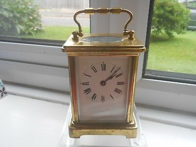 Charming Brass Cased Carriage Clock with Key for Repair