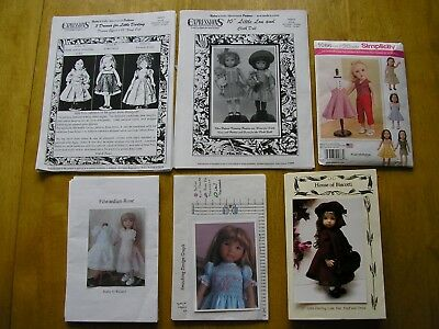 """Lot of 6 PATTERNS for 13"""" Dianna Effner LITTLE DARLING doll, sewing, complete"""