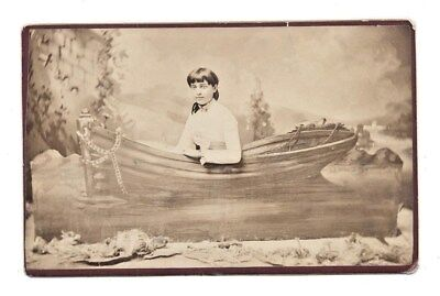 CABINET CARD Photograph of a YOUNG LADY Posed in a ROWBOAT. c.1880's IDENTIFIED