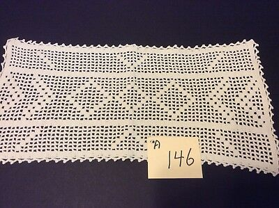 "Antique White Vintage Hand Crocheted Filet Style 16"" X 8"" Oblong Doily"