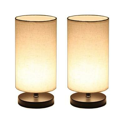 Set of 2 Round Wood Table Lamp Fabric Shade, LED Bulb Bedside Desk Lamp