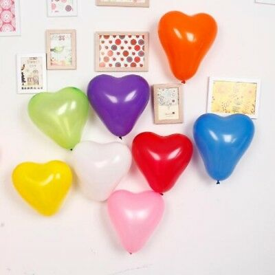 "100 Rainbow Mix 10"" Heart Shaped Biodegradable Balloons -Wedding, Party, Funeral"