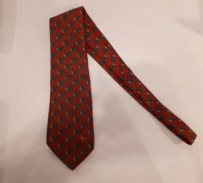 vintage Dunhill tie.silk .made in Italy (with chickens and one fox)