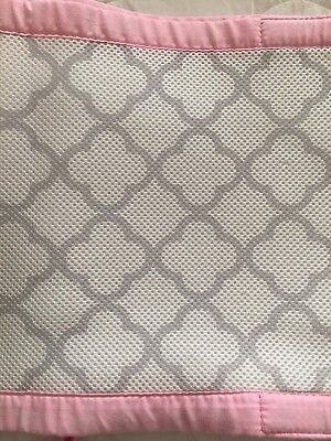 Breathable baby mesh crib bumper pre-owned pink grey gray