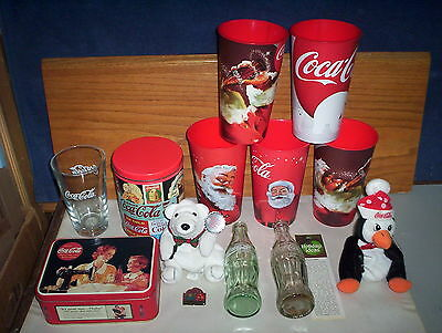 14 Coca-Cola Collectables Lot : Bean Penguin Coke Bear Tins Bottle Pin Bookmark