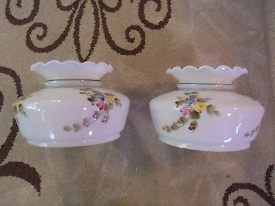 Vintage White Milk Glass Hand Painted Oil Lamp Shades Pair ( Excellent )