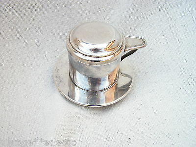 Boulenger Silver Plated Coffee Cup Filter & Lid ~ Vintage 3-Piece Complete Set
